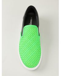 DSquared² - Green Woven Panel Sneakers for Men - Lyst