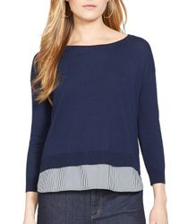 Ralph Lauren - Blue Lauren Layered Shirttail Sweater - Lyst