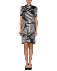 Stella McCartney - Black Striped Silk Mini Dress  - Lyst