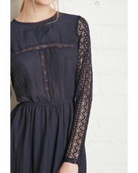 Forever 21 - Blue Floral Lace-trimmed Dress - Lyst