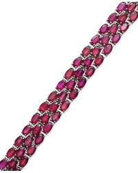 Macy's | Red Ruby Three-row Bracelet In Sterling Silver (25 Ct. T.w.) | Lyst
