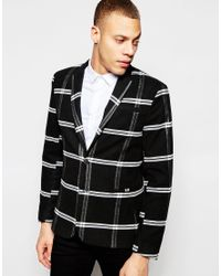 ASOS | Black Skinny Blazer In Monochrome Check for Men | Lyst