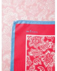Kiton - Red Floral Print Handkerchief for Men - Lyst