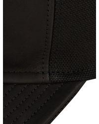 Balmain - Black Leather And Cotton-canvas Cap for Men - Lyst