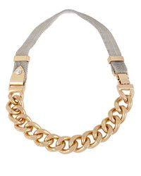Kenneth Cole - Metallic Two Tone Mesh Chain Link Necklace - Lyst