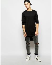 Produkt - Black Longline Long Sleeve Top for Men - Lyst