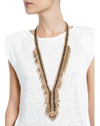 Mango | Metallic Beaded Chain Necklace | Lyst