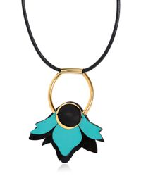 Marni - Blue Leather Flower Pendant Necklace - Lyst
