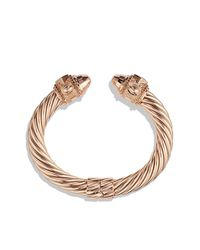 David Yurman - Pink Renaissance Bracelet With Dimonds In Rose Gold, 10Mm - Lyst