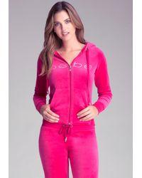 Bebe - Pink Petite Velour Hoodie - Lyst