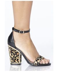 Missguided - Multicolor Reiko Leopard Ponyskin Heeled Sandals - Lyst