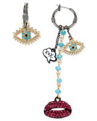 Betsey Johnson | Metallic Two-tone Crystal Pavé Eye And Lips Mismatch Hoop Earrings | Lyst