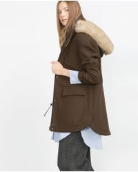 Zara | Natural Fabric Parka | Lyst