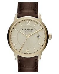 Burberry - Metallic Automatic Alligator Leather Strap Watch - Lyst