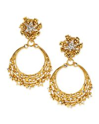 Jose & Maria Barrera | Blue Glittering Golden Star Clip Earrings | Lyst