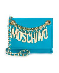 Moschino - Blue Logo-Chain Calf-Leather Cross-Body Bag - Lyst