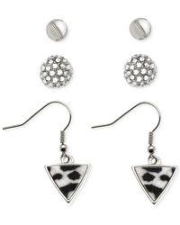 Guess | Metallic Rhodium-tone Stud Fireball Triangle Print Earring Set | Lyst