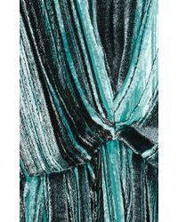 J.W.Anderson - Green Mint Silk Velvet Lurex Blouse With Peplum - Lyst