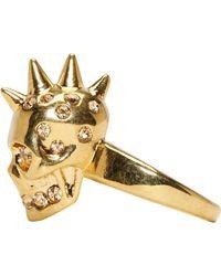 Alexander McQueen | Metallic Gold Spiked Skull Ring | Lyst