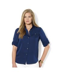 Lauren by Ralph Lauren | Blue Roll-tab-sleeve Satin Utility Shirt | Lyst