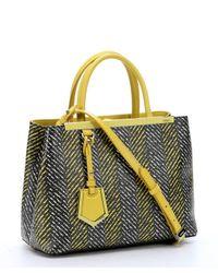 Fendi - White Lime Chevron Print Spalmati '2Jours' Tote Bag - Lyst