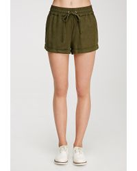 Forever 21 | Green Linen-blend Drawstring Shorts | Lyst