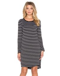 Sundry | Black Striped Long Sleeve Pocket Dress | Lyst