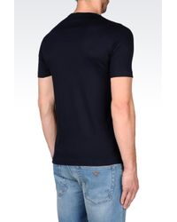 Emporio Armani | Blue T-shirt In Pima Cotton Interlock for Men | Lyst