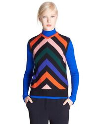 MSGM - Blue Chevron Sweater Vest - Lyst