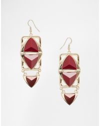 Oasis | Metallic Multi Triangle Drop Earrings | Lyst