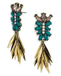 BaubleBar | Blue 'fringe Fir' Drop Earrings - Maroon/ Antique Gold | Lyst