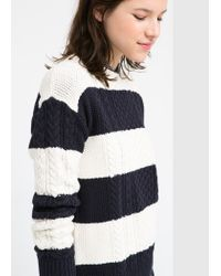 Mango - White Striped Cable-Knit Sweater - Lyst
