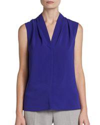 Calvin Klein - Purple Ruched V-Neck Blouse - Lyst