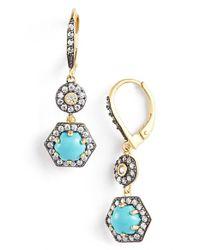 Freida Rothman - Blue 'metropolitan' Stone Two-tone Drop Earrings - Lyst