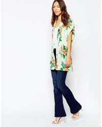 Vila | Green Floral Belted Kimono | Lyst