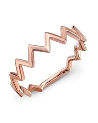 Anne Sisteron | Pink 14kt Rose Gold Zig Zag Stacking Ring | Lyst