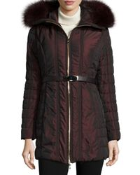 Gorski - Purple Zip-front Belted Fur-trim Puffer Coat - Lyst