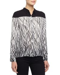 BCBGMAXAZRIA - Black Long-sleeve Printed Chiffon Blouse - Lyst
