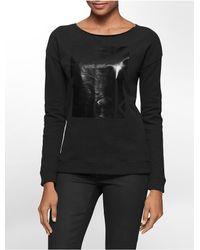 Calvin Klein | Black Jeans Foiled Square Logo Print Sweatshirt | Lyst