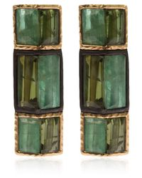 Nak Armstrong - Gold And Silver Emerald And Green Tourmaline Earrings - Lyst
