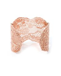Aurelie Bidermann | Pink Rose Gold-Plated Lace Cuff | Lyst