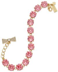 kate spade new york | Pink Gold-tone Round Crystal Bracelet | Lyst