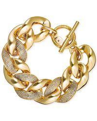 Michael Kors | Metallic Gold-tone Pavé Heavy Link Bracelet | Lyst