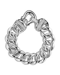 David Yurman | Metallic Buckle Single-row Bracelet With Diamonds | Lyst