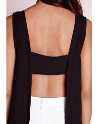 Missguided | Plunge Neck Tab Back Cami Top Black | Lyst