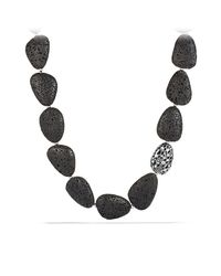 David Yurman - Metallic Dy Signature Collection Naturals Lava Bead Necklace With Diamonds - Lyst
