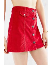 BDG | Red Corduroy Button-front Mini Skirt | Lyst