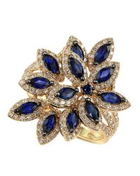 Effy | Metallic Velvet Bleu 14kt Yellow Gold Manufactured Diffused Sapphire Diamond Ring | Lyst