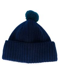 Paul Smith - Blue Pompom Beanie for Men - Lyst