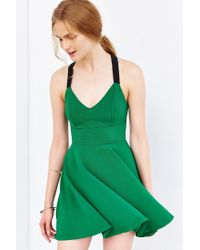 Silence + Noise - Green Emerald City Wide-strap Mini Dress - Lyst